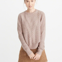 Womens Airspun Cable Crewneck Sweater | Womens New Arrivals | Abercrombie.com