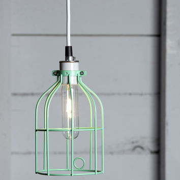 Industrial Pendant Lighting - Mint Green Wire Cage Light