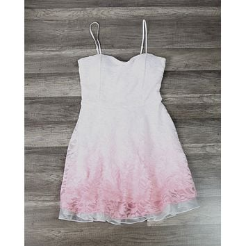 Glits & Glams Lacy Floral Dip Dye Fit and Flare Dress in Pink