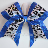 """3"""" Wide Luxury Cheer Bow - Sequin Cheetah w/Blue Shimmer"""