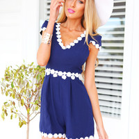 DAY DATE PLAYSUIT -  navy capped sleeve playsuit with white daisy detailing