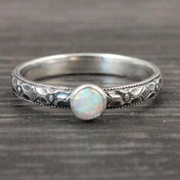 Opal ring, sterling silver ring, 4mm lab created opal, vintage style, floral pattern, promise ring, engagement ring, handmade artisan ring