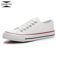 DAOKFPO Women Casual Sneakers 2018 New White Canvas Shoes Female Spring Summer Woman Students Walking Shoes Zapatos NVF-55