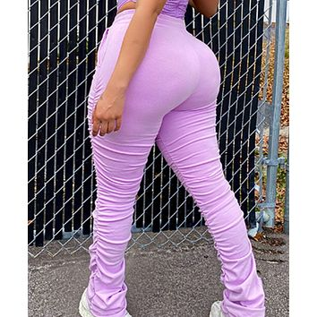 Explosive hot sale women's high-waisted rope pleated leggings tights