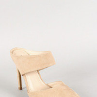 Anne Michelle Suede Pointy Toe Mule Pump