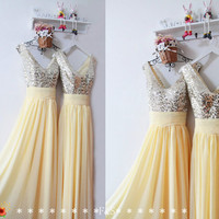 Long Prom DressSequin Yellow Prom Evening by FashionStreets