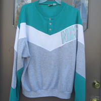 Nike  Sweatshirt 80s Retro CHEVRON Striped TEAL aqua white and grey  Hipster  1980s Vintage Men Sports Old School    xlarge
