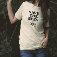 Save the Bees Tee - Unisex Shirt - Multiple Colors - Women's and Men's T-shirt - Nature, Outdoors, Indie, Hippie, Environmentalist, Foodie