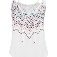 tank with colorful embroidery and mesh