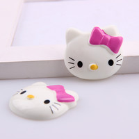 2017 3D New Resin Cabochons Kawaii Miniature Cartoon Hello Kitty Fuschia bowknot Head Flat back Scrapbook For phone decoration