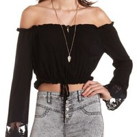 Black Off-the-Shoulder Ruffle Crop Top by Charlotte Russe