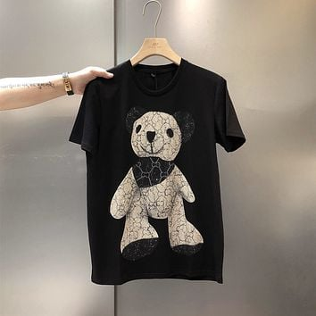 """Gucci"" Unisex Fashion Rhinestone Cartoon Bear Pattern Short Sleeve Couple T-shirt Top Tee"
