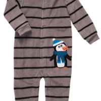 Carter's Baby Boy's Infant Long Sleeve One Piece Coverall - Bundled Up Penguin - 3M