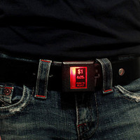 Recycled Video Arcade One Dollar Coin-Drop Belt Buckle... that lights up