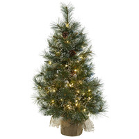 Christmas Tree w/Clear Lights, Frosted Tips, Pine Cones & Burlap Bag 3'
