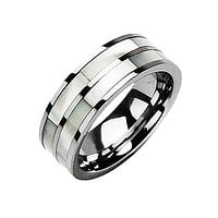 Sincerity - Simple Design Combination Of Mother Of Pearl and Tungsten Carbide Comfort Fit Band