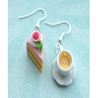 Rose Cake and Lemon Tea Dangle Earrings
