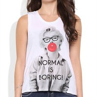 Twist Open Back Tank Top with Normal is Boring Marilyn Screen