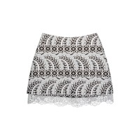 Cynthia Rowley - Jacquard Mini Skirt W- Lace Trim | Bottoms