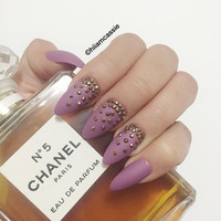 Set of Stiletto Press on Nails - Matte Violet Nails Rhinestone Nails Hand Designed Nails False Nails