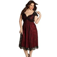 4 Plus Size Women Sleeveless Lace Long Evening Party Prom Gown Formal Dress Freeship