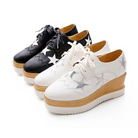 Star Pattern Lace Up Breathable Wedge Platform Shoes 2272