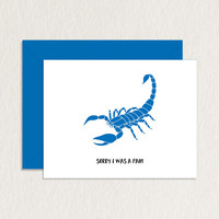Sorry I Was a Pain Scorpion Printable Greeting Card A2