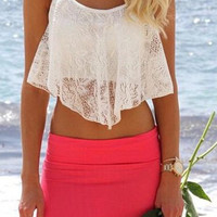 White Spaghetti Strap Lace Tank Top