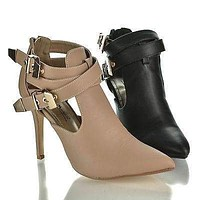 Momentum73 By Anne Michelle, Strappy Pointed Toe Multi Buckle Cut Out Dress Bootie Sandals