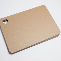 """Brown Kraft Flat Blank Note Cards with Heart, Journal Cards, Gift Tags, Choice of Color,  2.5"""" x 3.5"""" Set of 25"""