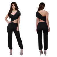 Black Half Sleeve Cut-Out Jumpsuit