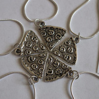 Pizza Friendship Necklace with Silver Chains