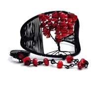 Red Coral Tree of Life Black Wire Cuff Slave Bracelet w. Ring Attached