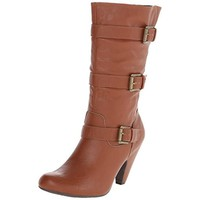 Dolce by Mojo Moxy Womens Natty Faux Leather Heels Mid-Calf Boots