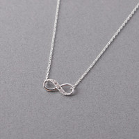 Tiny Infinity Necklace in Matte Silver