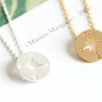 Tiny Chic compass necklace in gold or silver, simple, everyday, nautical necklace