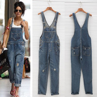 Womens Ladies Baggy Denim Jeans Full Length Pinafore Dungaree Overall Jumpsuit AP
