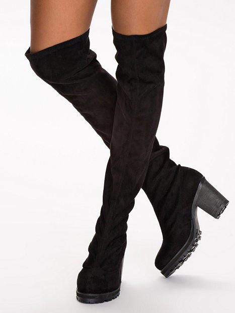 chunky knee high boot nly shoes black from nelly