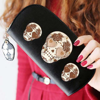 Cute Skull Rivet Long Style Standard wallet