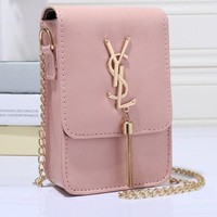 YSL Women Shopping Leather Metal Chain Crossbody Shoulder Bag Satchel Pink Tagre™
