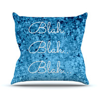 "Ebi Emporium ""Blah Blah Blah""  Blue Glitter Outdoor Throw Pillow"