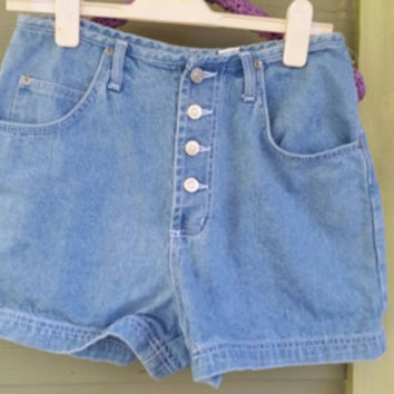 Vintage chambray Blue Button front high-waisted 80s shorts size 11