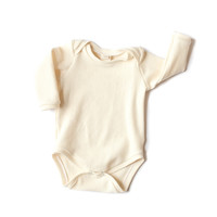 Long-Sleeve Baby Bodysuit Cream