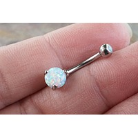 White Fire Opal Belly Button Ring