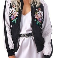 Tough Cookie Navy Blue White Floral Embroidery Long Sleeve Satin Bomber Baseball Jacket