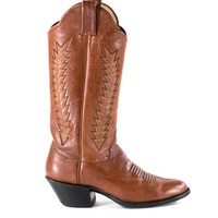 Leather Cowboy Boots Brown Southwestern Stacked Heel Boots Womens Size 5.5