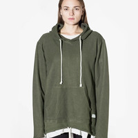 Double Layer Reversed French Terry Hoodie in Dark Olive: WMNS