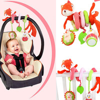 Animal Fox Style Newborn Infant Baby IQ Development Plush Toys Bed Stroller Car Hanging Playing Toy Musical Kids Rattles Mobiles
