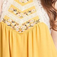 SUNFLOWER FIELDS: Lace and Floral Silk Dress