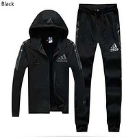 ADIDAS Winter Plus Velvet Casual Hoodie Sportswear Two-Piece Black